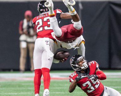 Atlanta Falcons Jayson Stanley and Chase Middleton sends a Washington Redskins player heads over hills #NFL, #dirtybirds, #falcons, #inbrotherhood, #atlantafalcons, #ATL, #ASN