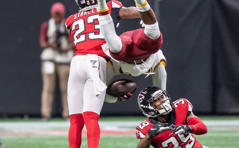 Atlanta Falcons Jayson Stanley and Chase Middleton sends a Washington Redskins player heads over hills #NFL, #dirtybirds, #falcons, #inbrotherhood, #atlantafalcons, #ATL, #ASN