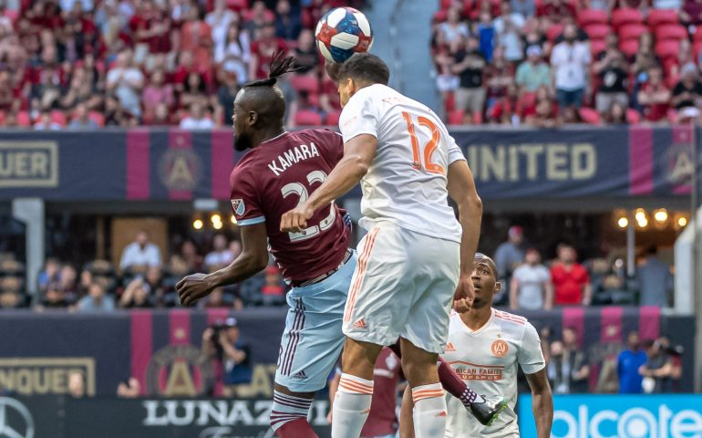 Miles Robinson uses his head to control the ball in a soccer match #atlutd, #unitedandconquer, #MLSsoccer,