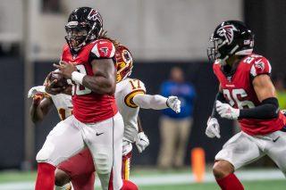 Tak Mckinney returns a forced fumble 17 yards against the Washington Redskins in preseason football #NFL, #dirtybirds, #falcons, #inbrotherhood, #atlantafalcons, #ATL, #ASN
