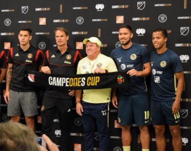 Atlanta United and Club America pose for a picture during the press conference Tuesday morning ahead of their Campeones Cup match