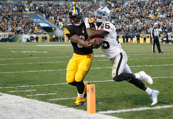 Antonio Brown makes a catch against the Oakland Raiders #nfl, #Oakland Raiders, #Raiders, #football,