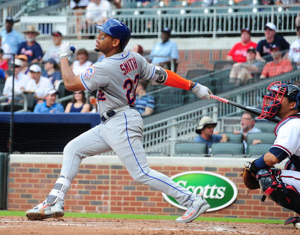 Dominic Smith hitting a home run in his first at-bat
