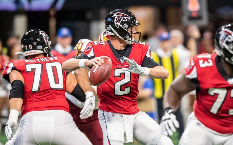 Matt Ryan throws a pass against the New Orleans Saints