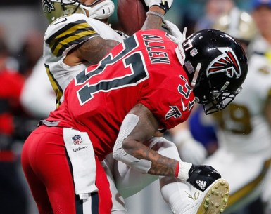 Ricardo Allen hits a New Orleans Saints receiver. Falcons hope to Reset