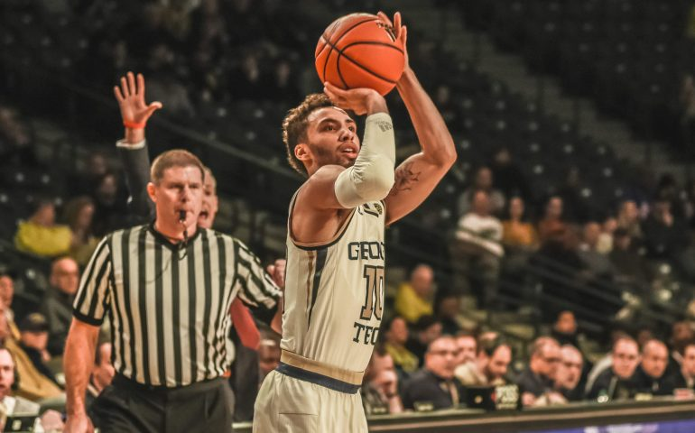 Georgia Tech Yellow Jacket Jose Alvardo takes a shot #yellowjackets, #togetherweswarm