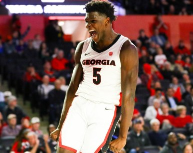 Anthony Edwards Celebrates a basket against the Wildcats in Rematch #UGA, #Bulldogs,