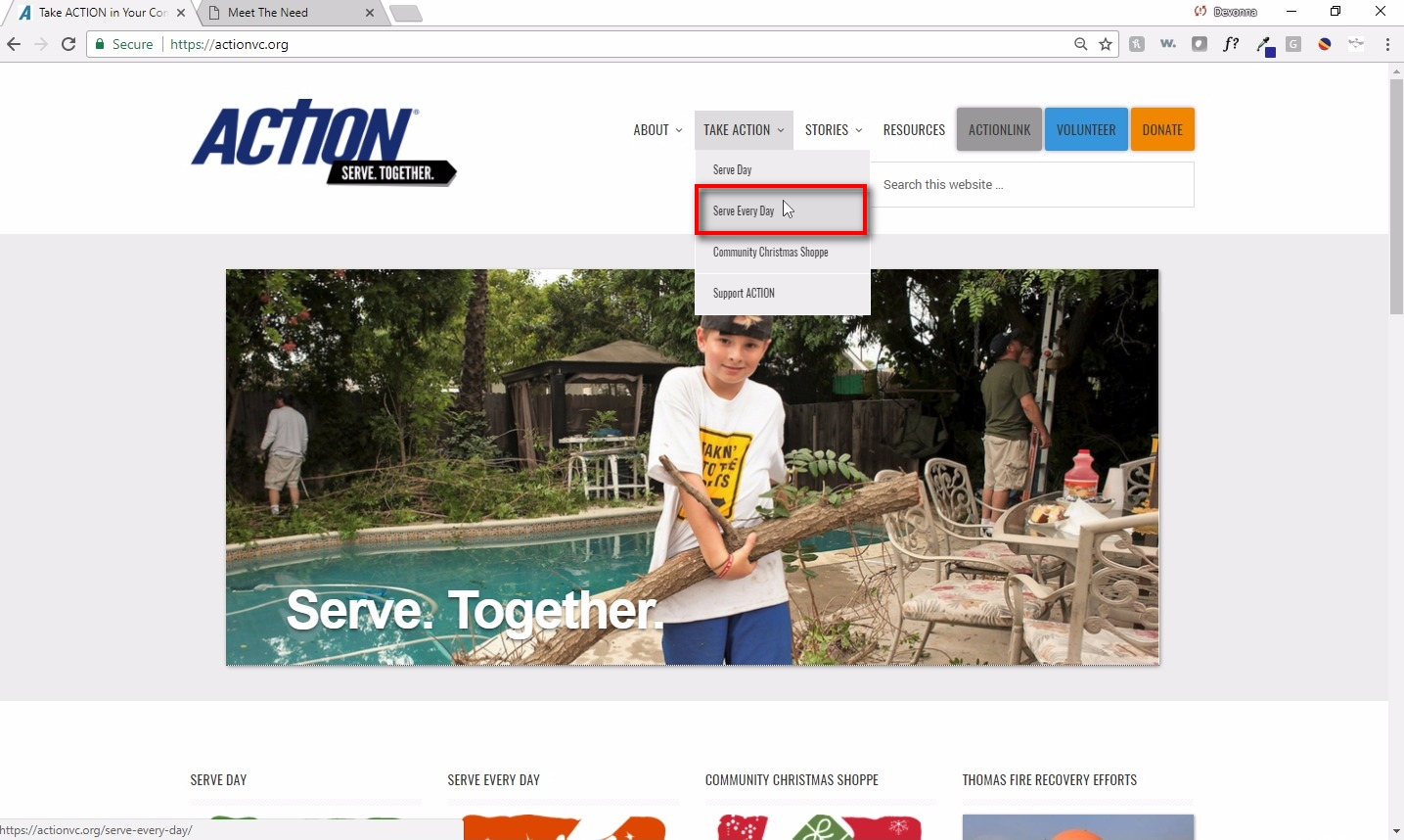Click on Serve Every Day ;You can find your project on our website, ACTIONvc.org, on our Serve Every Day page.