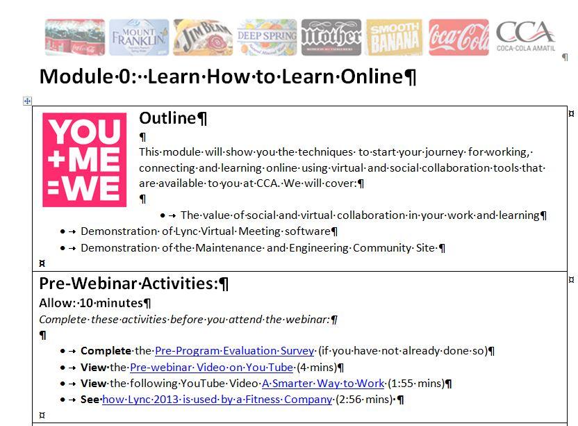 Example of the Pre-Webinar Activities