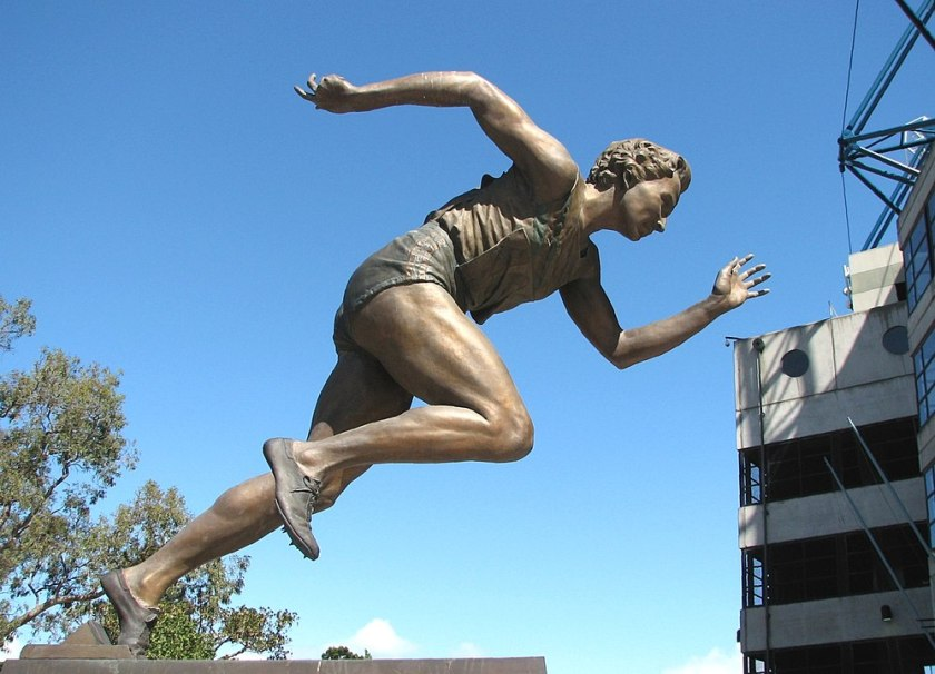 Put your plan into action with the determination carved into this statue of runner Shirley Strickland.