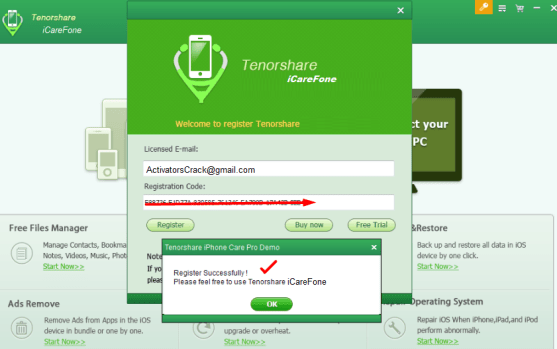 iCareFone Registration code