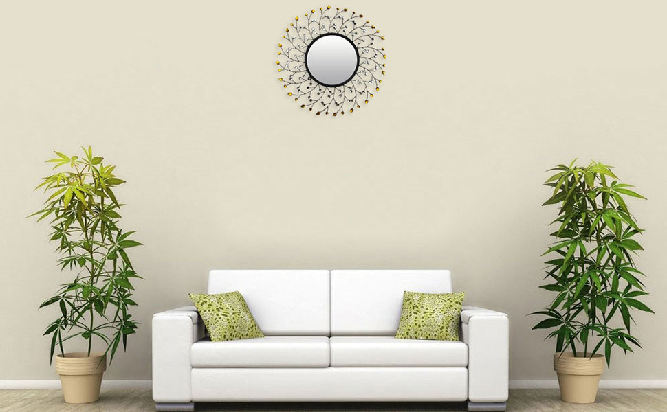 Lulu Decor Decorative Sun Drop Metal Wall Mirror