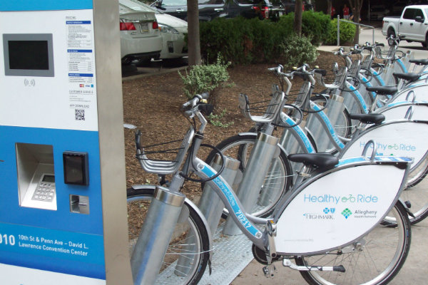 healthy ride bike share rental stations are placed throughout the city of pittsburgh