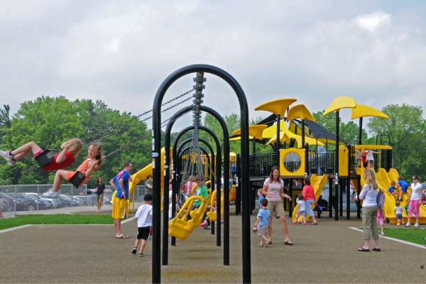 children have fun at a playground in North Park outside of Pittsburgh Pennsylvania