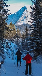 Skiers in Kananaskis, Alberta