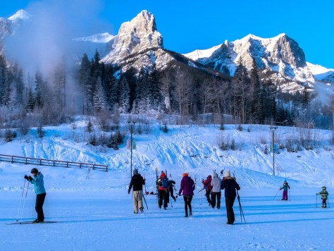Cross country skiers at Canmore Nordic Centre