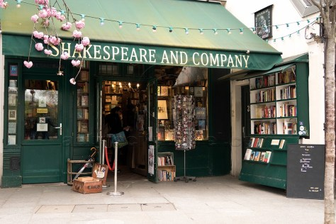 Shakespeare and Company with postcard rack, Paris
