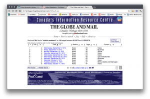 """An example of a """"results list"""" from the Globe and Mail's newspaper database. It all seems so orderly and systematic."""
