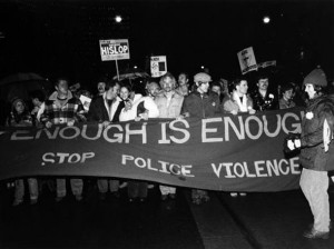 Protest against the police tactics, 1981. Canadian Lesbian and Gay Archives.