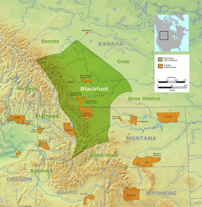 Traditional Siksikaitsitapi territory with reserves and reservations. (Public Domain)