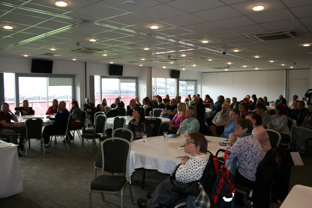 """An image of the 70+ people present at the launch of the Let's Talk About Restraints"""" online training toolkit, which took place at Rotherham Football Stadium in March 2016."""