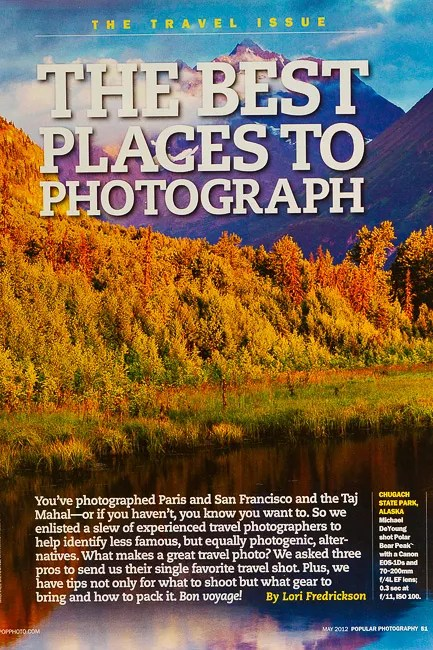 Popular Photography Magazine Best Place to Photograph in Alaska that is proximate to well-known tourist destinations