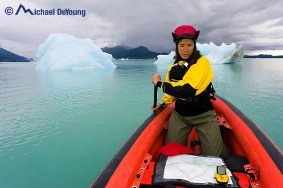 Canoeist of Alsek Lake, Glacier Bay National Park, Alaska.