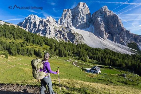 hiker above Rifugio Cita di Fiume, Dolomites, Italy