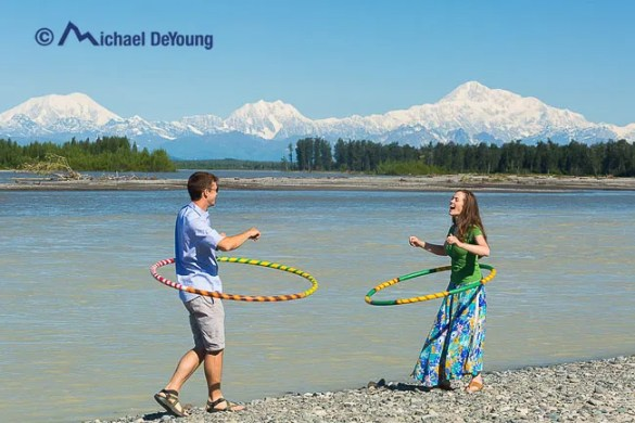 Hula hoopin on a scorching hot day along the Susitna River below Denali and the Alaska Range