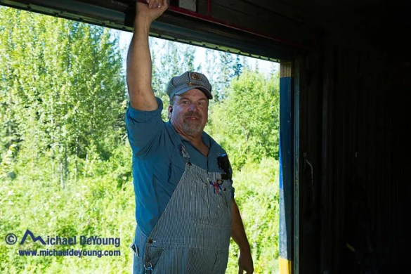 Conductor Warren Redfearn of the Alaska Railroad on the Hurricane Gulch Train, the last flag stop train in America that personifies life on the last frontier.  You should ride Warren's train if you visit Alaska.