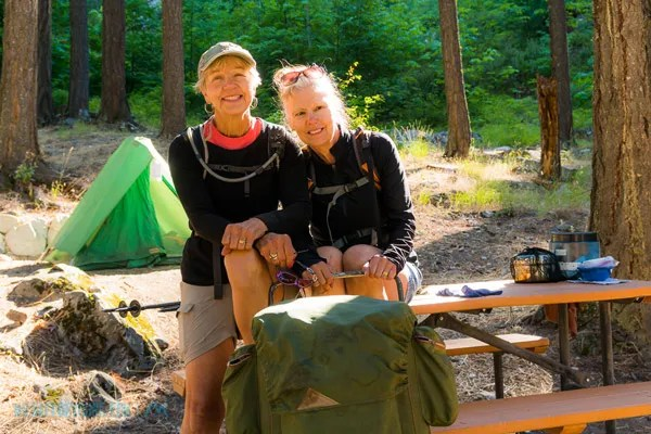 Nancy and Linda, two delightful women at the Stehekin CG who hiked in from Highway 20, Rainy Pass.  Linda, on the right, had a vintage rucksack - almost the exact pack I carried at Philmont Scout Ranch in 1976 except mine was burnt 70's orange.