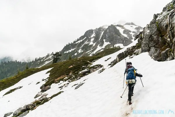 Andrew and Cheri, SOBOs from San Francisco, approaching Fire Creek Pass in rain, wind, hail and snow