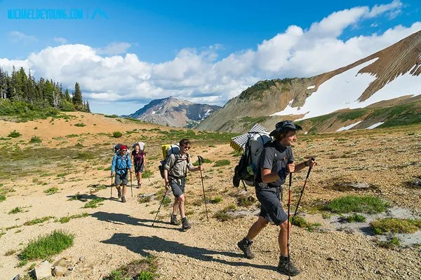PCT in Goat Rocks Wilderness, Washington.  The Frenchtastic 4 ascending toward the Knife Edge, all with HMG packs