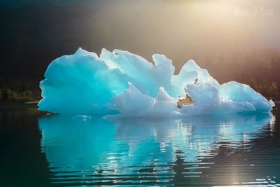 Landscape image of large, blue colored icebergs