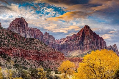 The Wathcman tower on a moody fall day in Zion National Park. © Michael DeYoung