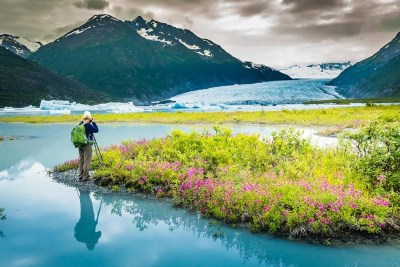 Image of photographer on guided photography tour in Alaska