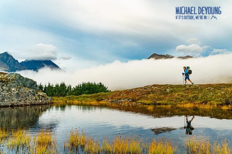 Backpacker along Lost Lake Trail near Seward, Alaska