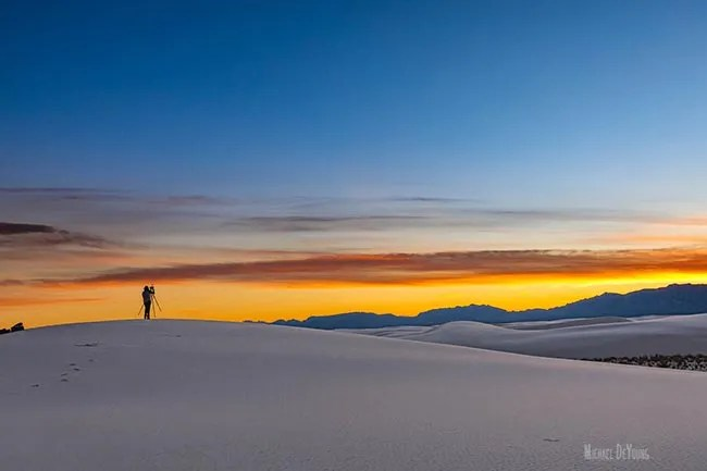 Photographer at sunset - White Sands National Park