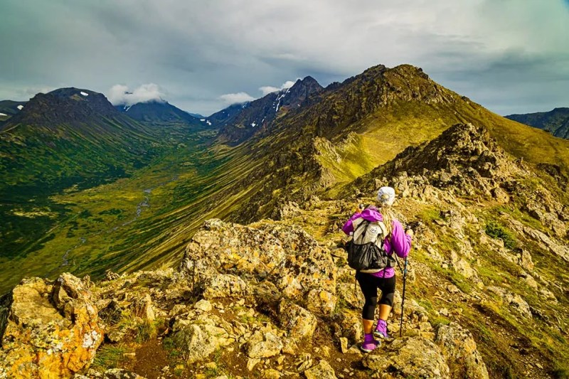 Hiker on Peak 2 - one of many Anchorage area hiking trails. Photo © Michael DeYoung
