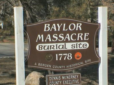 Baylor Massacre Sign, River Vale, NJ