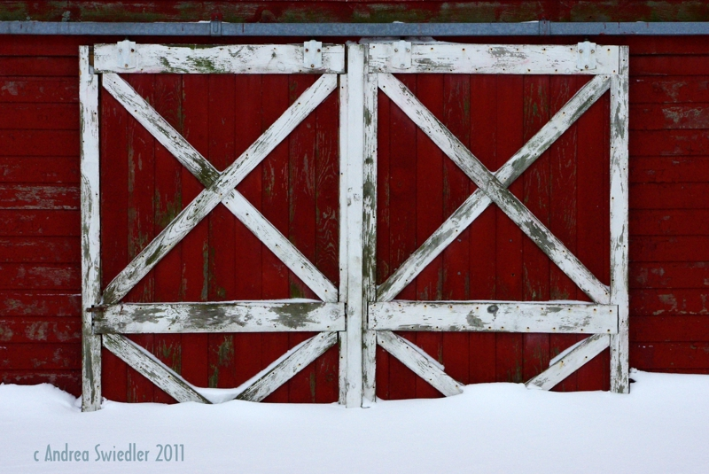 Barn doors buried in snow New Milford CT