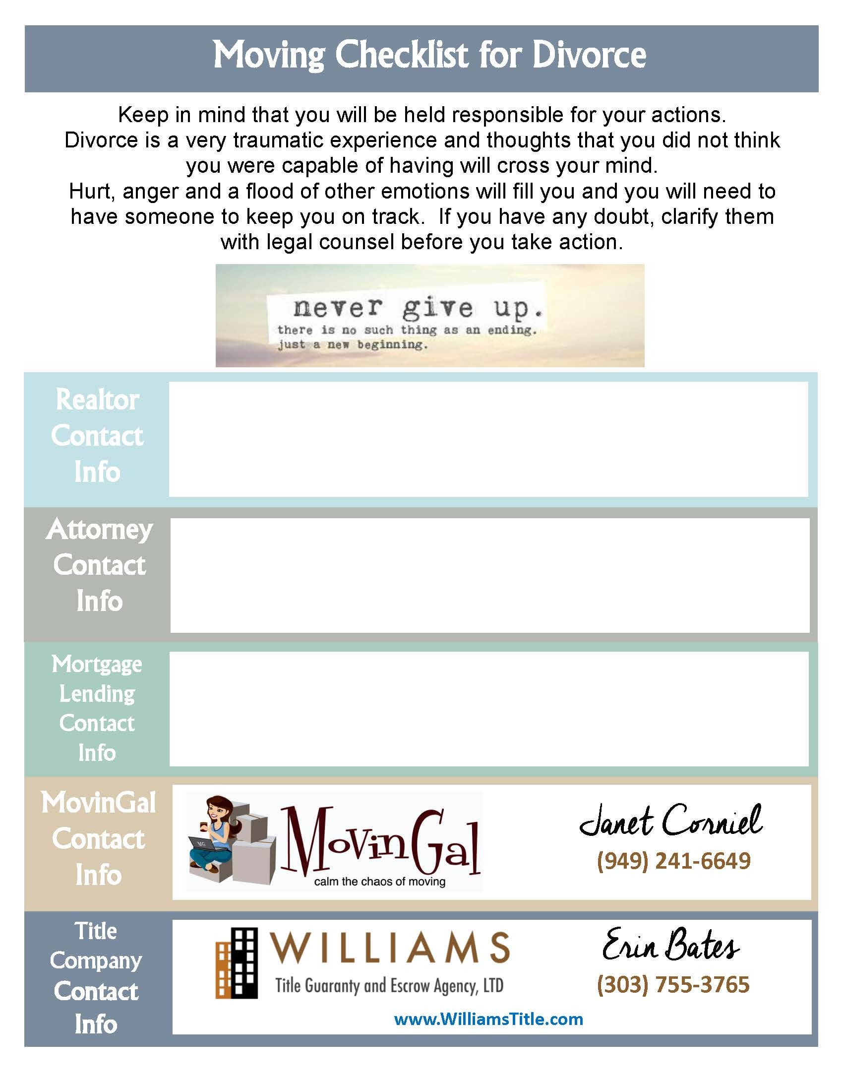 Williams Title Moving Checklist For Divorce Printable