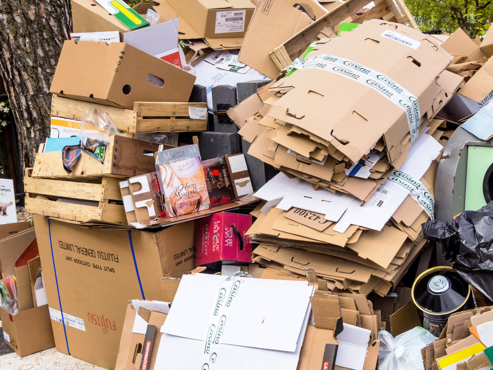 Mountains,Of,Cardboard,On,The,Street.,Of,Packaging,Waste,Paper