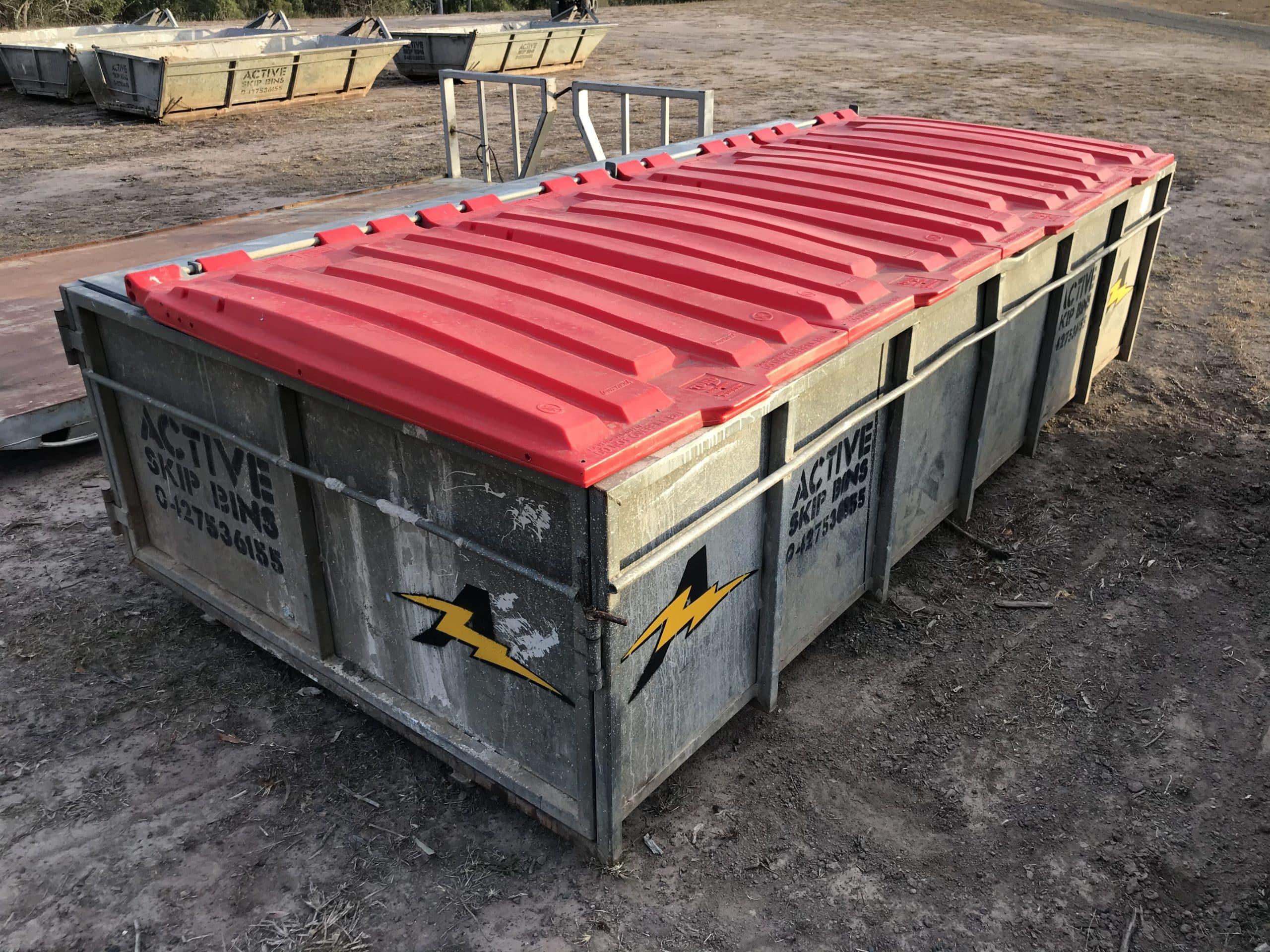 6m³ bin with plastic lids — Rubbish Remova in Bundaberg, QLD