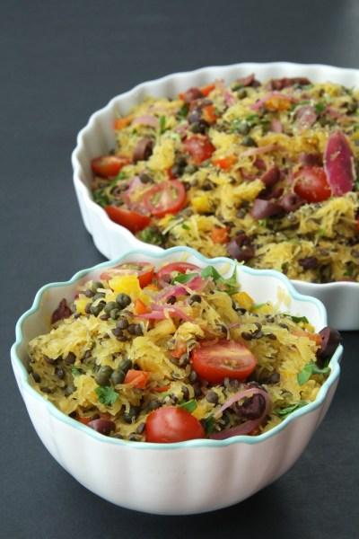 Greek Style Spaghetti Squash Pasta - #LowCarb, #GlutenFree, #Vegan 4