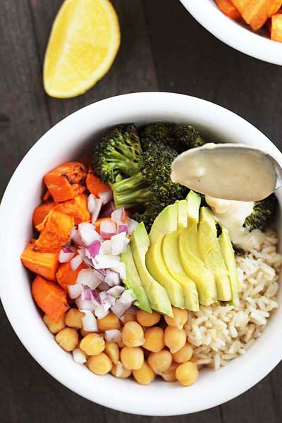 This is a sweet potato broccoli chickpea vegetable rice bowl