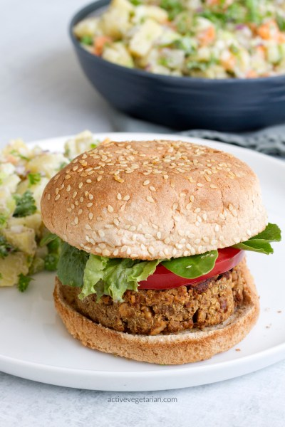 Healthy Plant Based Burger - high in protein by active vegetarian3