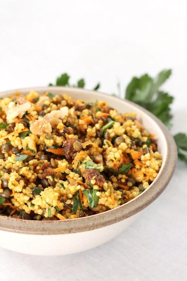 Easy Vegan Moroccan Millet Salad