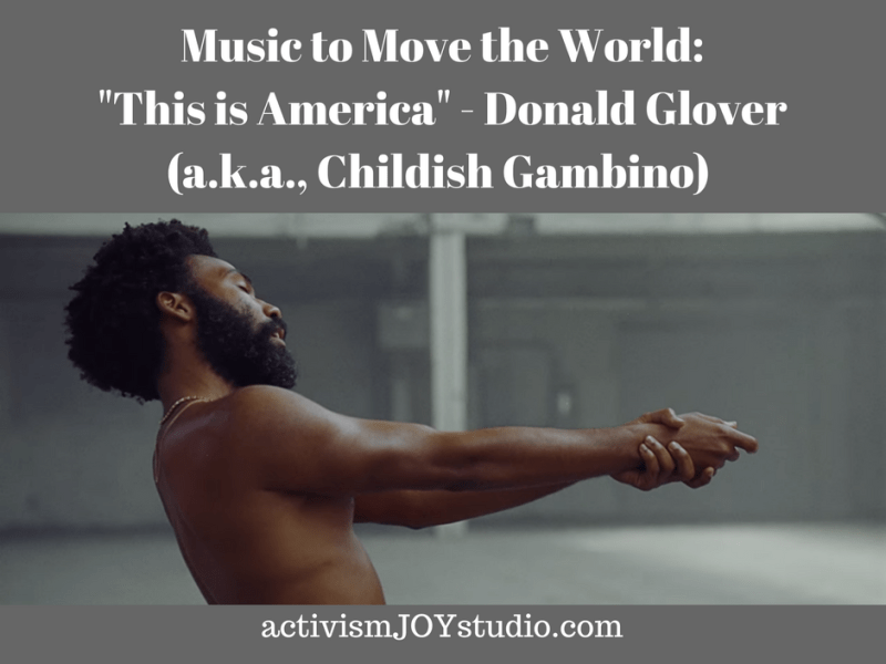 Article Title and a screenshot from the video - Donald Glover stands shirtless with his hands extended as if holding a pistol