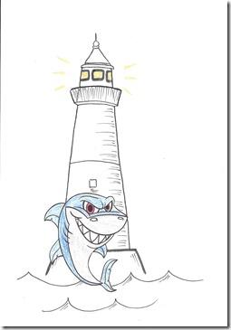 phare allumé avec requin